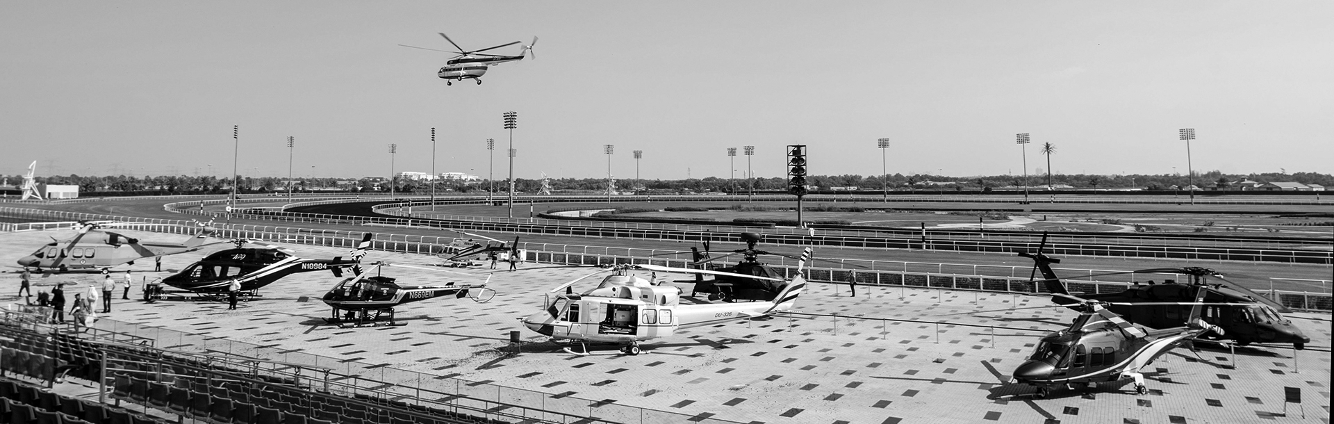 Helishow with helicopter rappelling at the Meydan